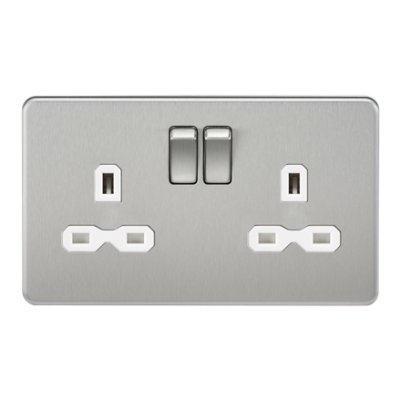 SFR9000BCW Screwless 13A 2G DP switched socket - brushed chrome with white inser