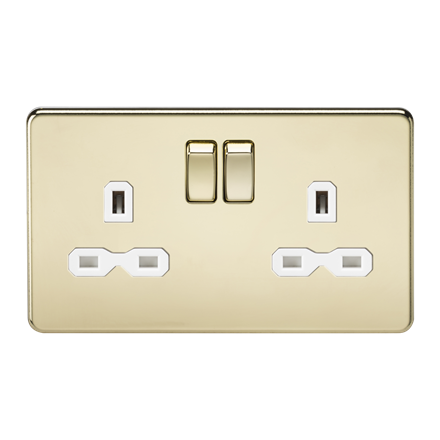 SFR9000PBW Screwless 13A 2G DP switched socket - polished brass with white inser