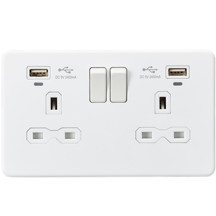 SFR9904NMW 13A 2G Switched Socket, Dual USB (2.4A) with LED Charge Indicators -