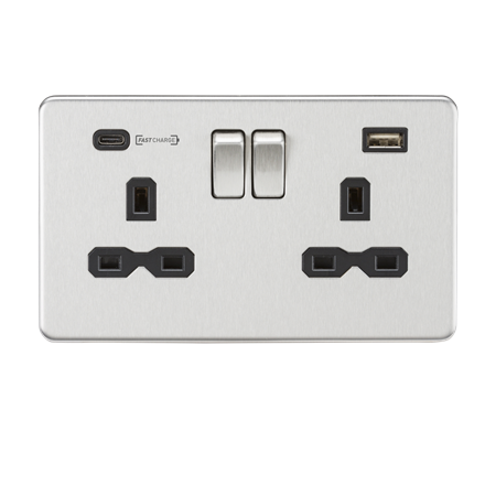 SFR9907BC 13A 2G DP Switched Socket with Dual USB Charger (Type-C FASTCHARGE por
