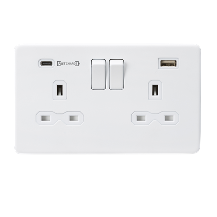 SFR9907MW 13A 2G DP Switched Socket with Dual USB Charger (Type-C FASTCHARGE por