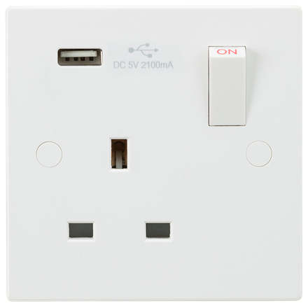 SN9903 13A 1G Switched Socket with USB Charger 5V DC 2.1A