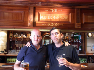 Dan Chalmers (left) and me (right) enjoying a drink in the Alister Mackenzie Room