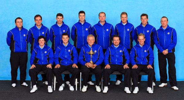 Colin montgomerie's European team in their ProQuip weatherwear