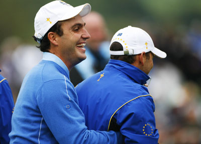 Edoardo Molinari in playful mood this week at the Ryder Cup with Sergio Garcia
