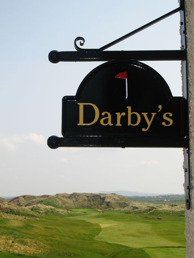 The Derby Bar at the Lodge with the magnificent 1st hole stretching into the distance