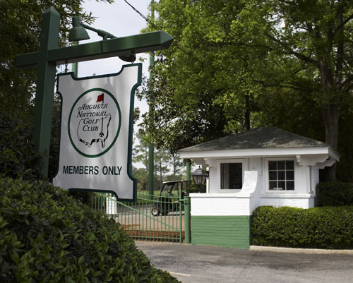 The exclusive entrance to Augusta National which leads down Magnolia Lane