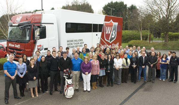 Wilson Staff Tour player Anthony Wall (centre with his bag) was among those at Amer Sports who celebrated the launch of the new Tour van at their Frimley headquarters