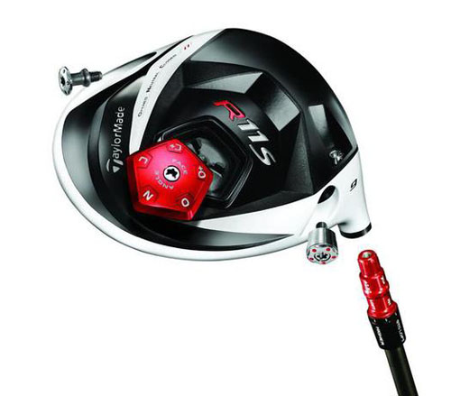 Exploded view of R11S driver showing adjustable shaft, weights and sole plate