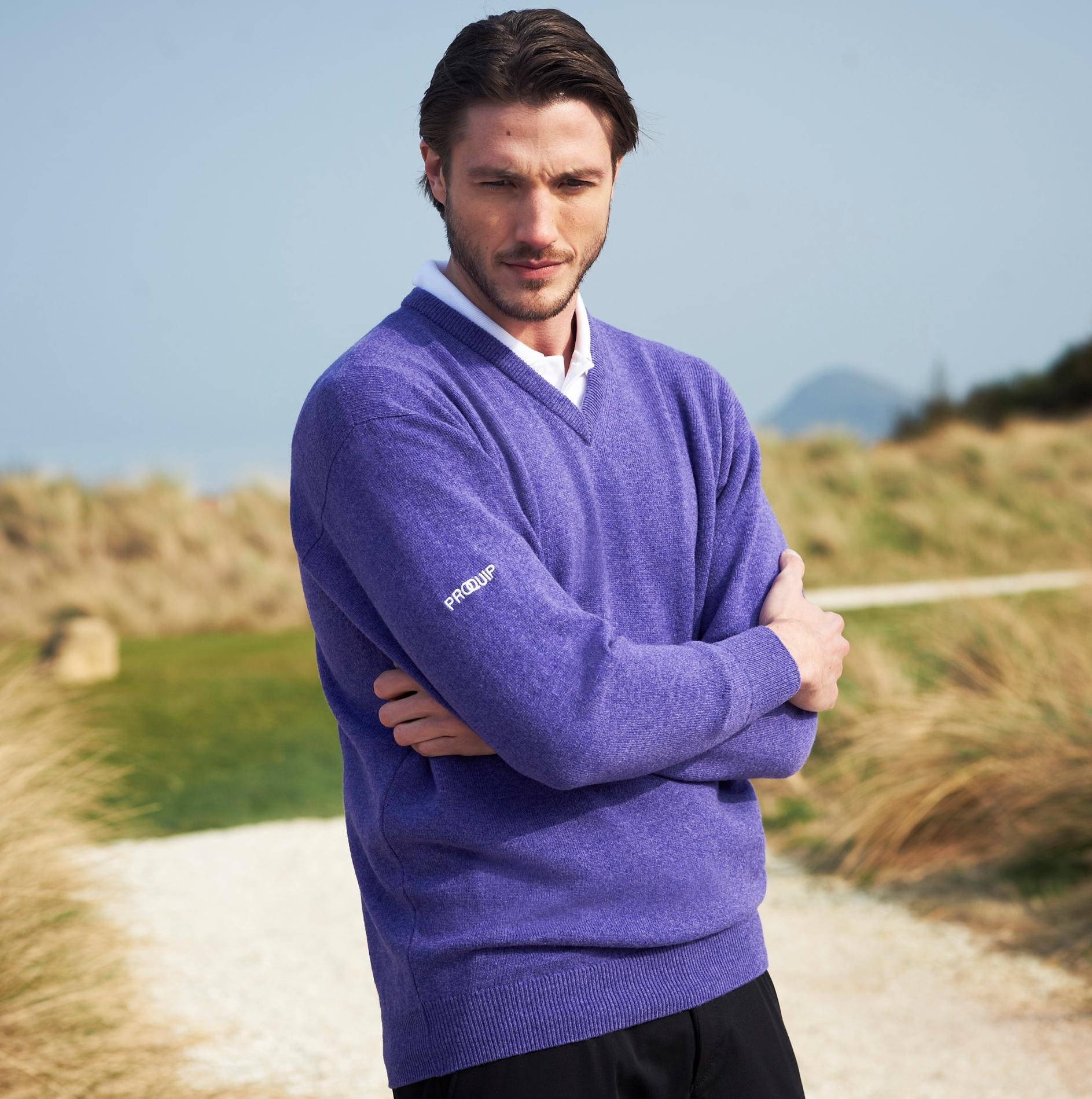 V-Neck purple knitwear