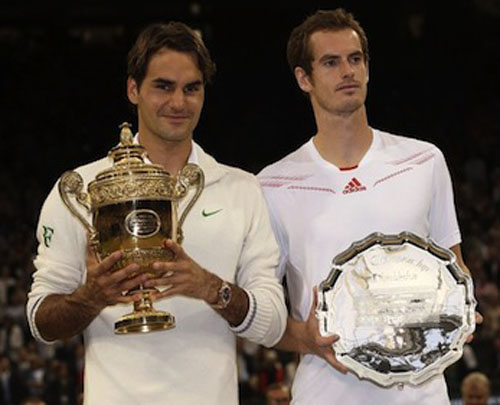 To the victor, the spoils...Federer and Murray at Wimbledon on Sunday