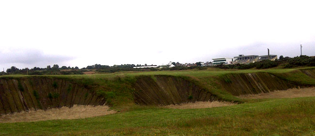 Even Ernie Els would struggled out of these steep bunkers