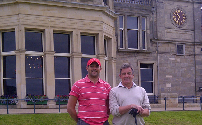 Tom and Dad on the first tee