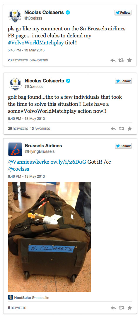Colsaerts' twitter posts (click image to enlarge)