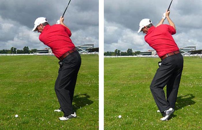 You'll get more power in the downswing with the left heel up at the top (right) than you will with it down (left)