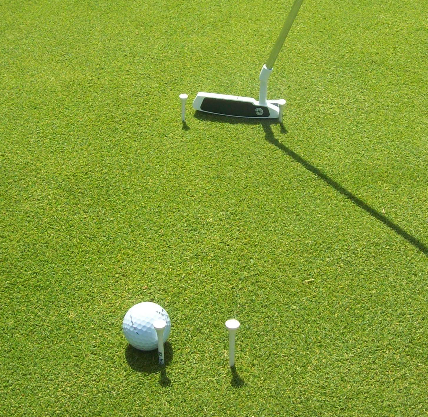 Example of a bad putt, coming in on the inside