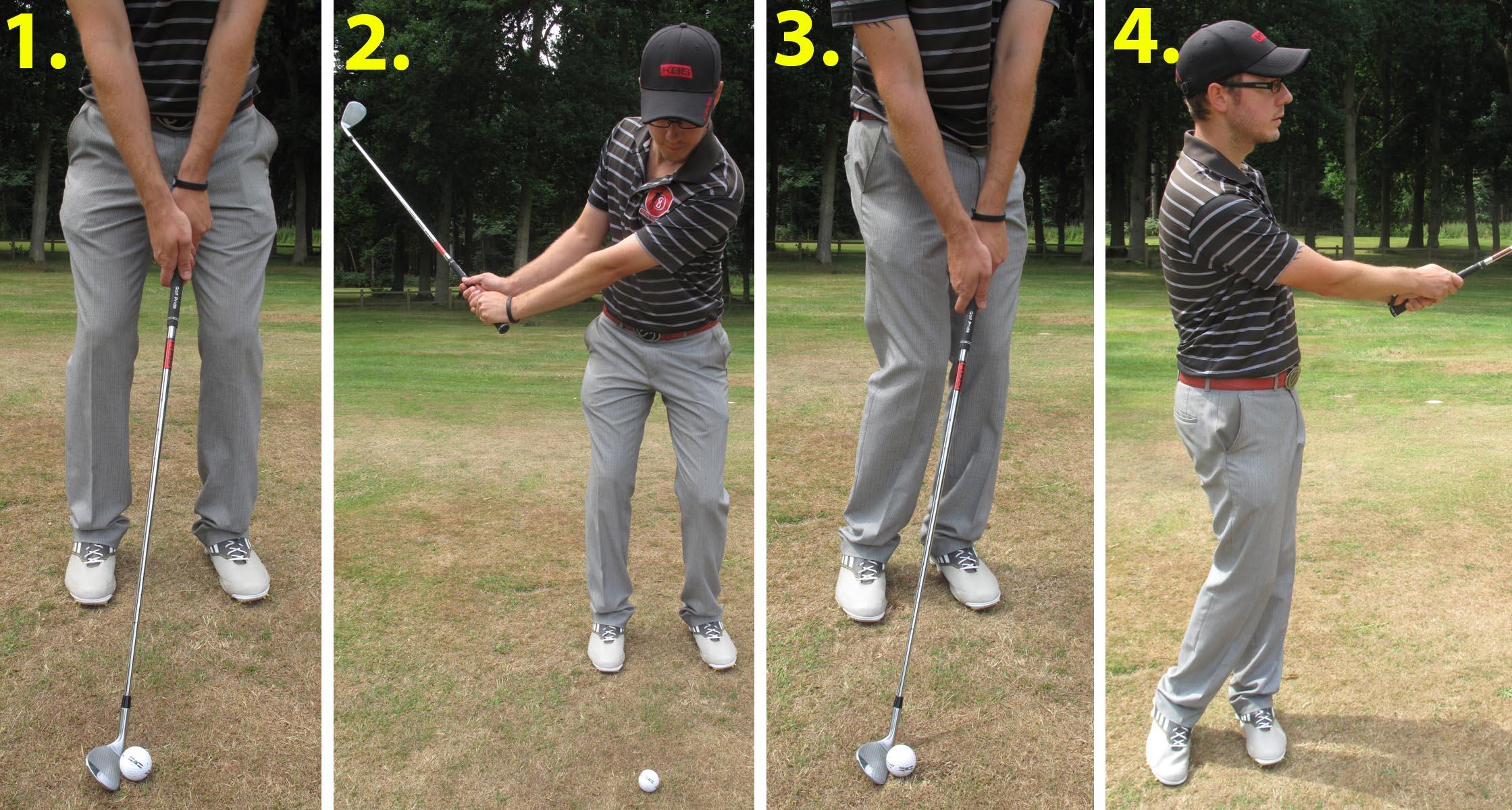 1. address, 2. backswing, 3. Impact, 4. follow-through. Each stage is key to hitting off hardpan