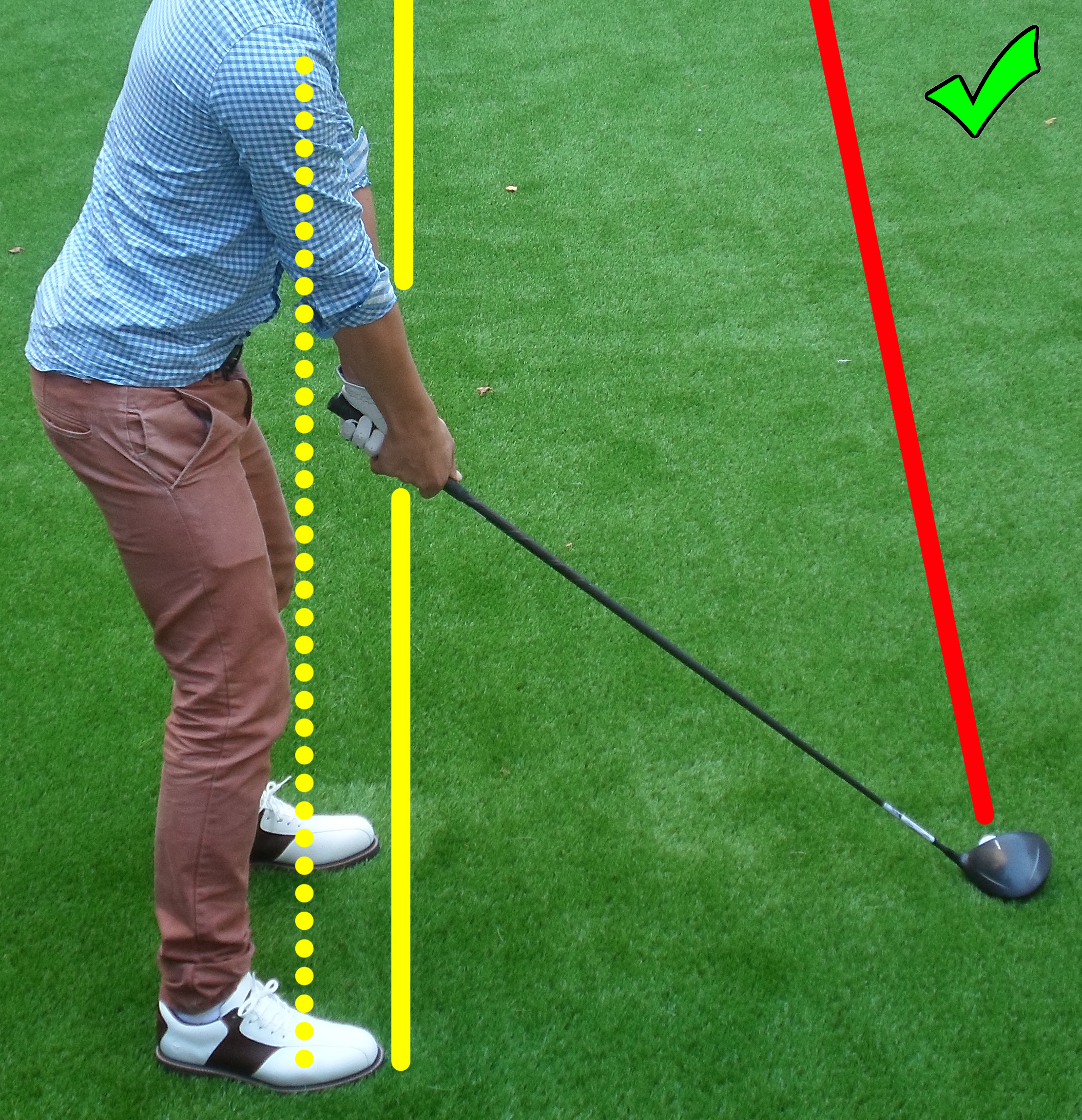 Fig.3 - Weight on the balls of your feet and shoulders lined up straight to the target with feet (click to enlarge)