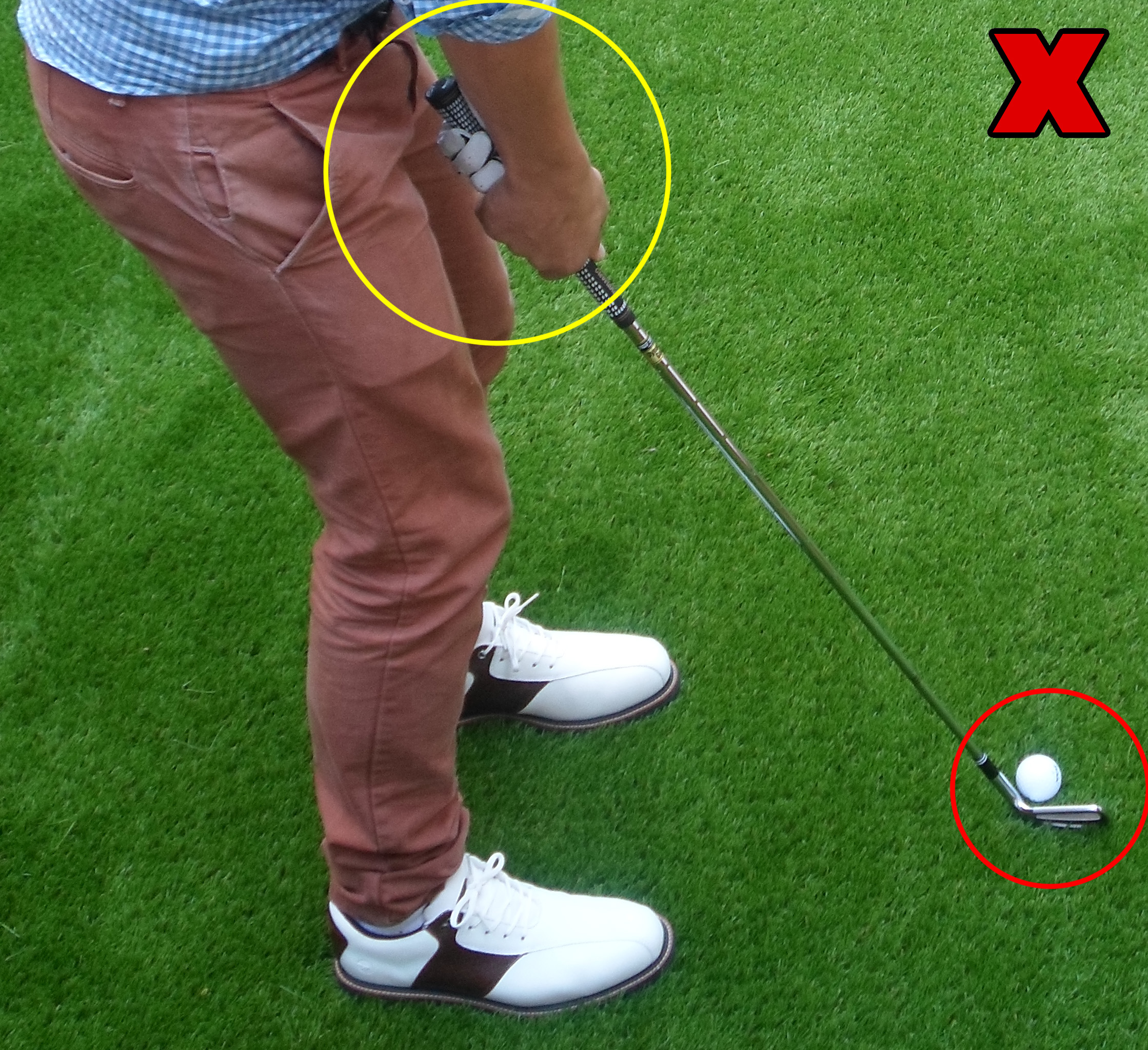 Fig.2 - Avoid standing too close to the ball and having an open clubface (click to enlarge)