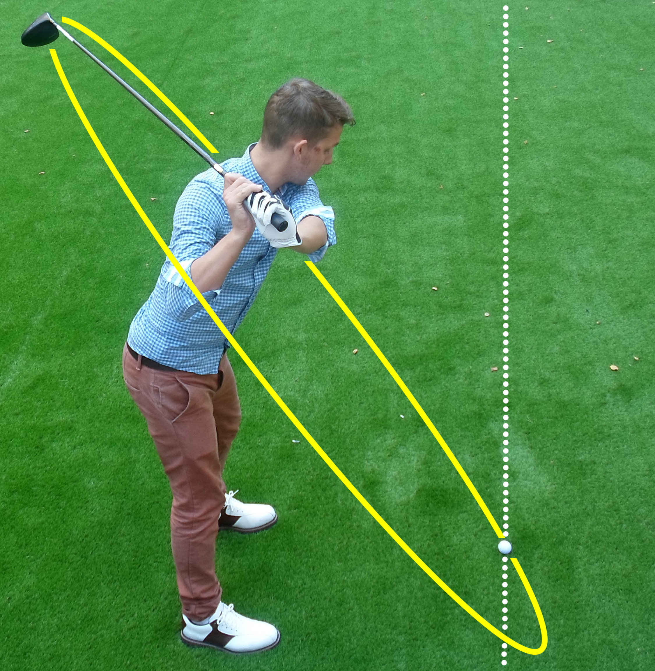 Fig.2 - To hit a fade your swing path should travel from outside the target line then hit across the ball (click to enlarge)