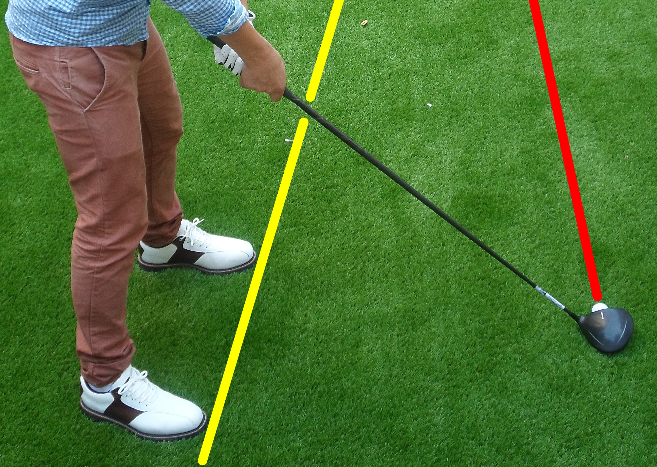 Fig.2 - Make sure you're aiming right of the target while the clubface is square on (click to enlarge)