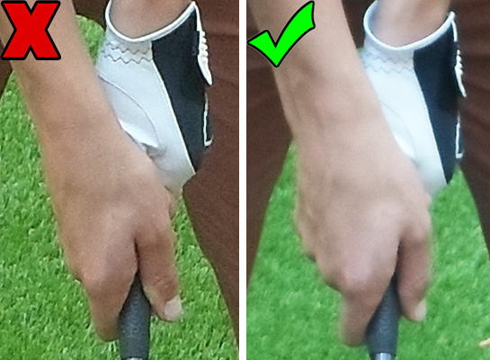 Fig.3 - Hold your left hand loosely and turn your hands over at impact (click to enlarge)
