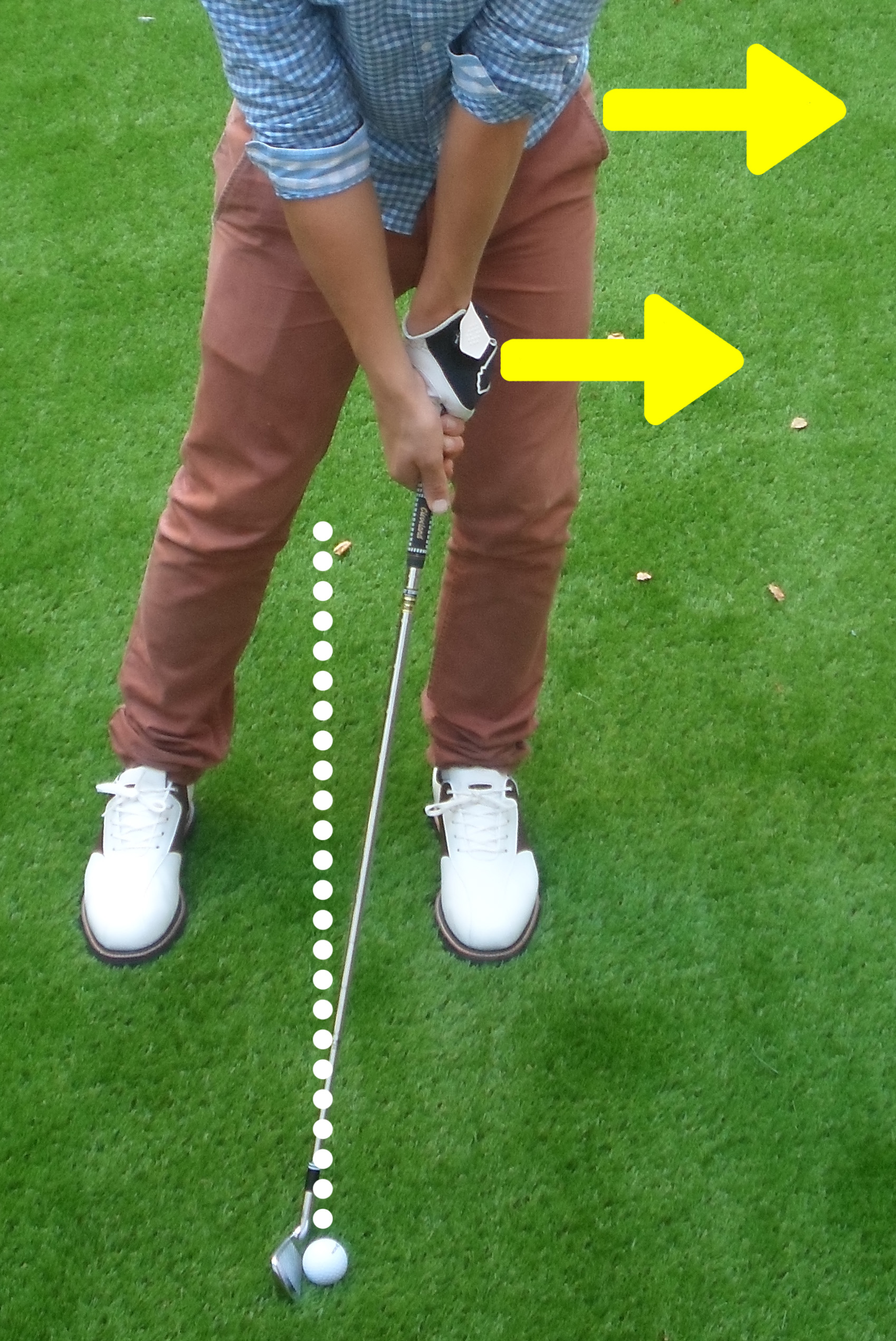 Fig.2 - Ball needs to be either middle or back of stance while your hips and hands are all forward (click to enlarge)