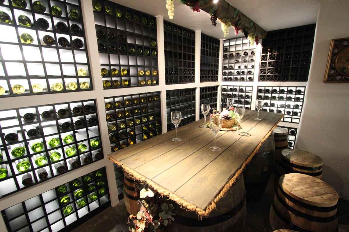 An extensive wine cellar