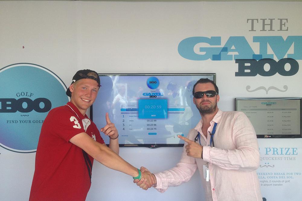 GOLFBOO Director Fabio Peral (right) with GameBOO winner Anton Hajdarmetaj