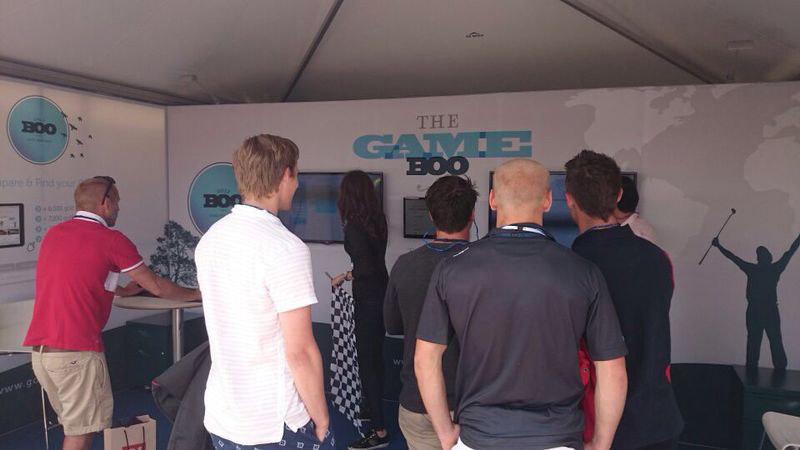 Visitors show interest in GameBOO at the tented village exhibition