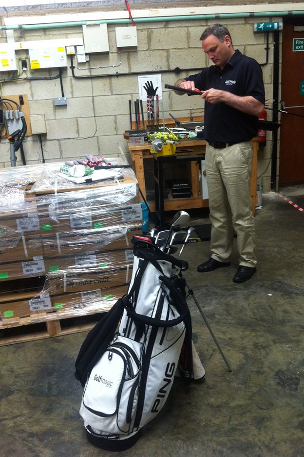 Golf Pride's Conor Dillon re-grips Andy's clubs