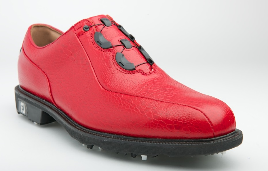 The Premier line FJ ICON BOA in Red Snake print Italian leather