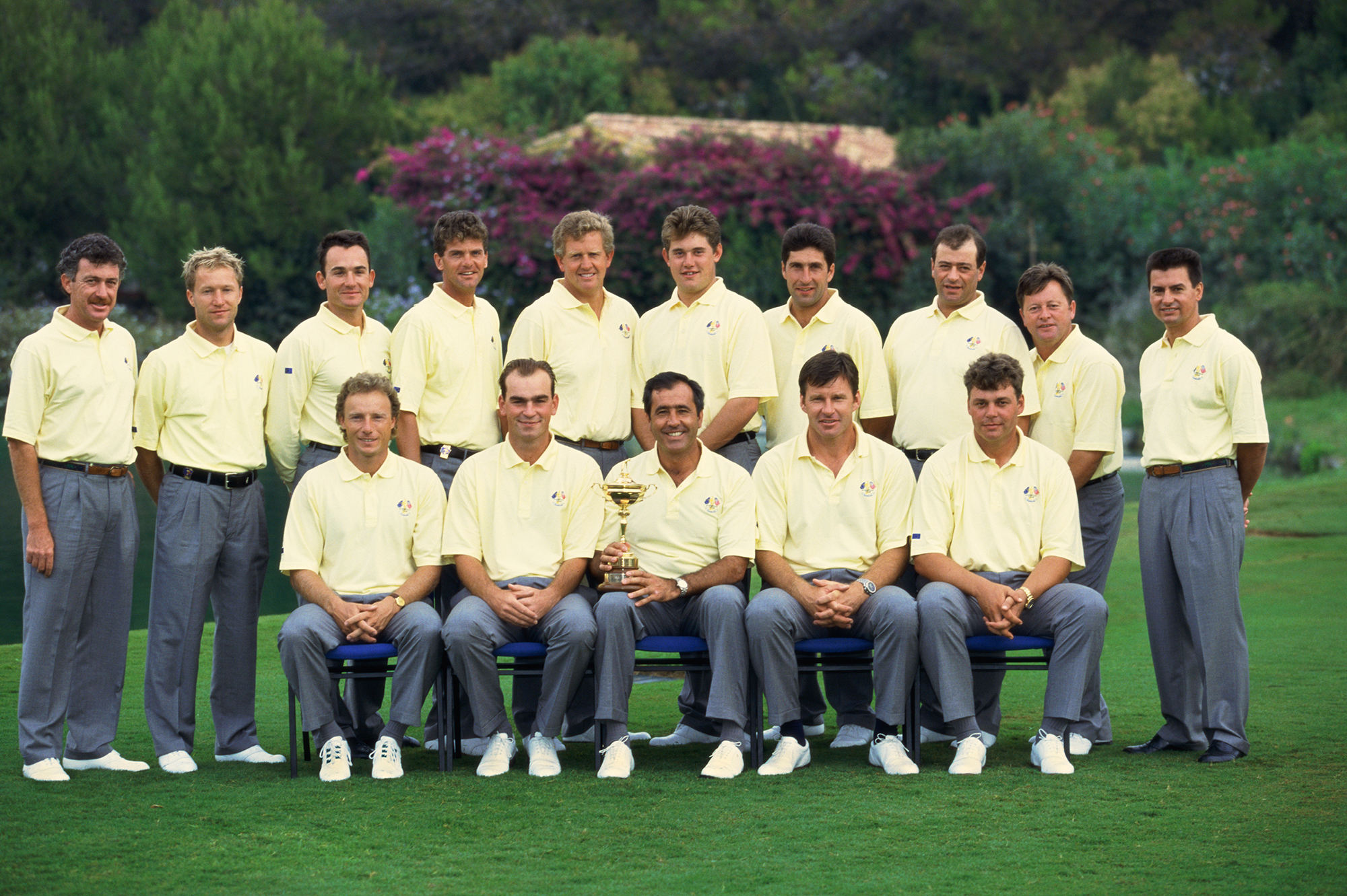 Clarke (bottom right) played his way onto the 1997 European Ryder Cup led by Seve Ballesteros. Europe won the match 14.5-13.5 at Valderrama, with Clarke earning a win in the Saturday morning fourballs alongside Colin Montgomerie (Photo: Getty Images)