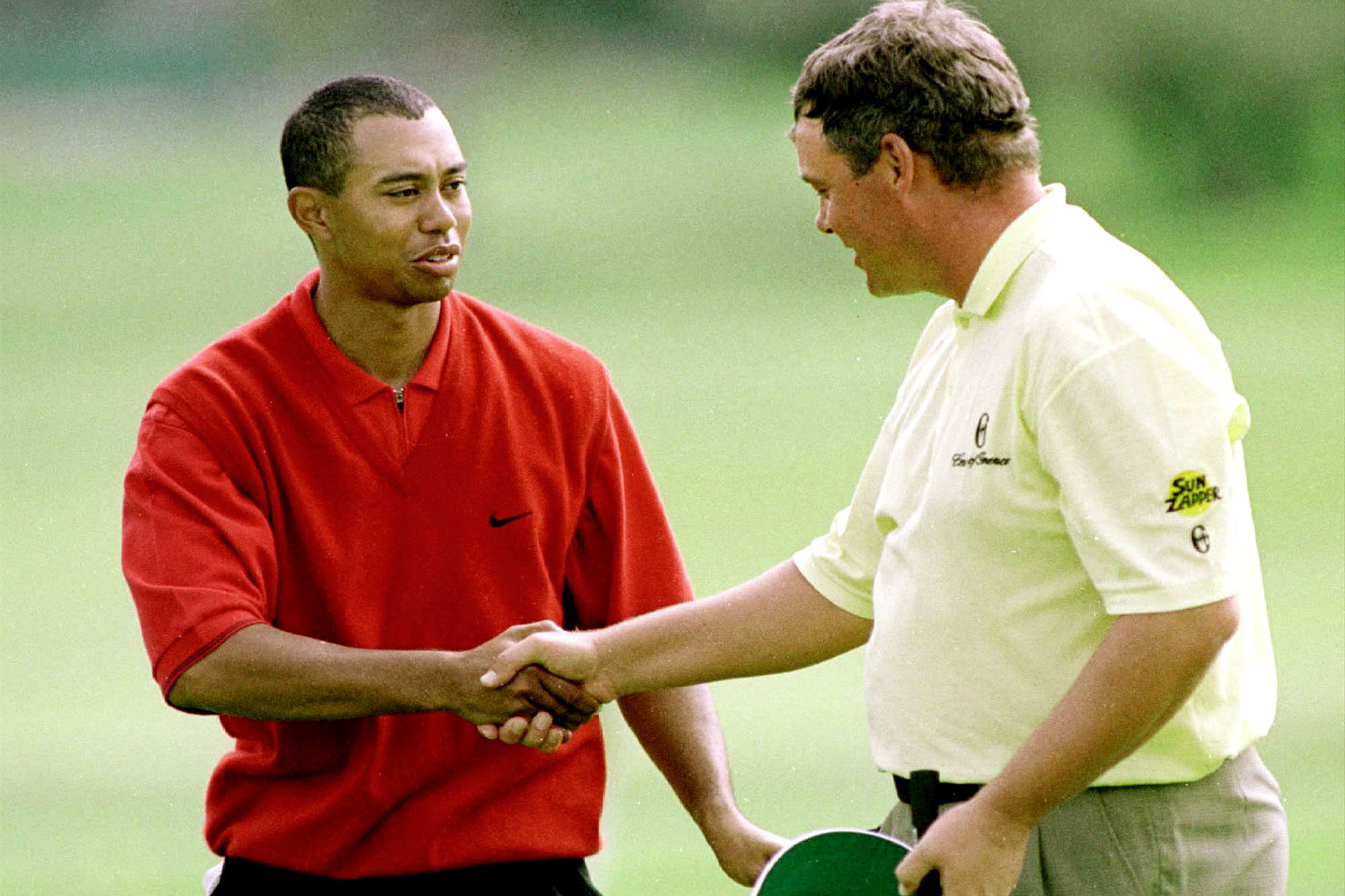 One of Clarke's finest moments came when he beat Tiger Woods 4&3 in the 36-hole final of the 2000 WGC-Matchplay Championship (Photo: Getty Images)