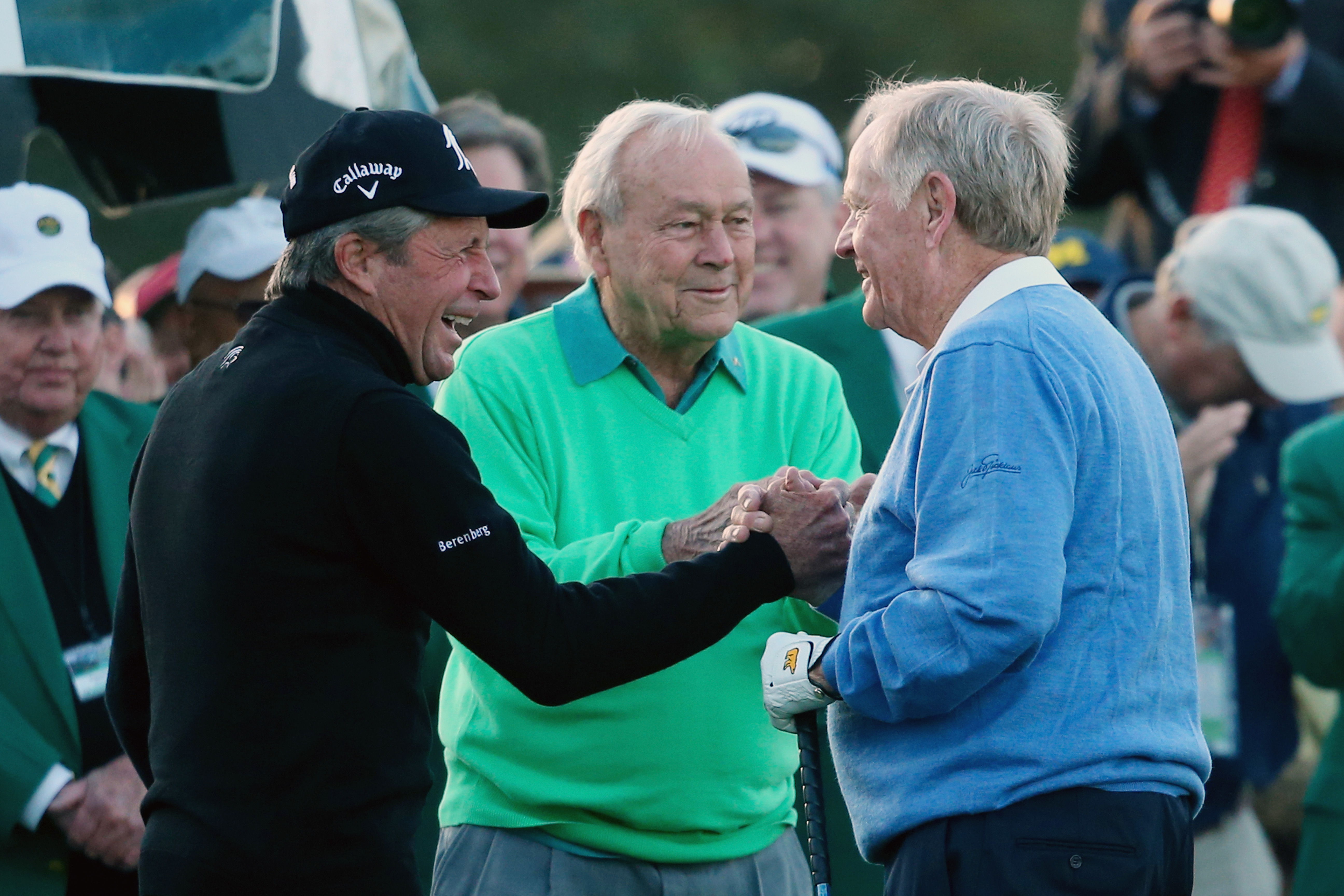 Arnold Palmer, Jack Nicklaus and Gary Player will start the Masters in April (Photo: Getty Images)