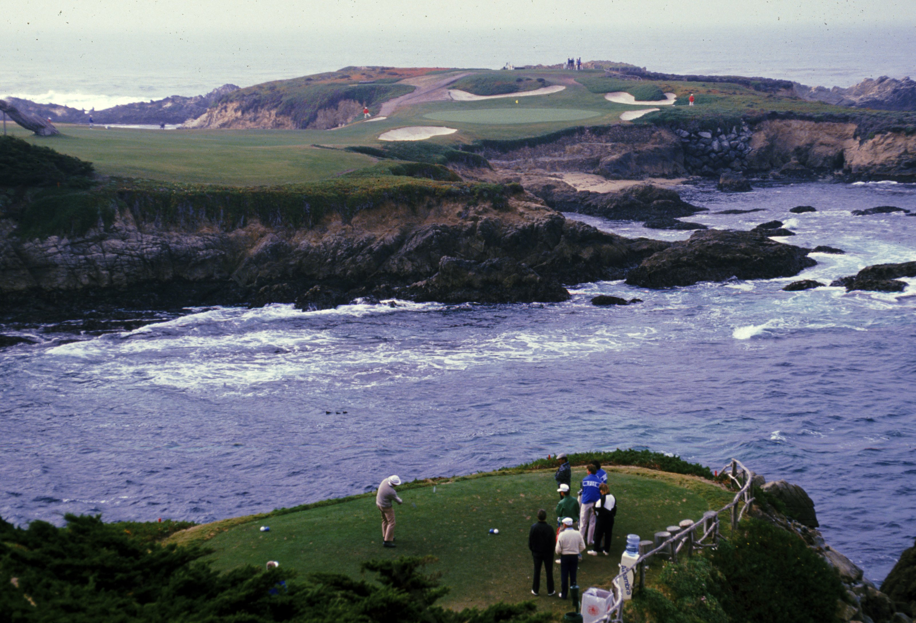 A frightening tee shot at Cypress Point Country Club, Monterey, California (Credit: Otto Greule Jr. /Allsport)