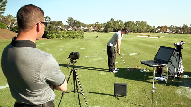 Justin Rose using TrackMan with coach Sean Foley