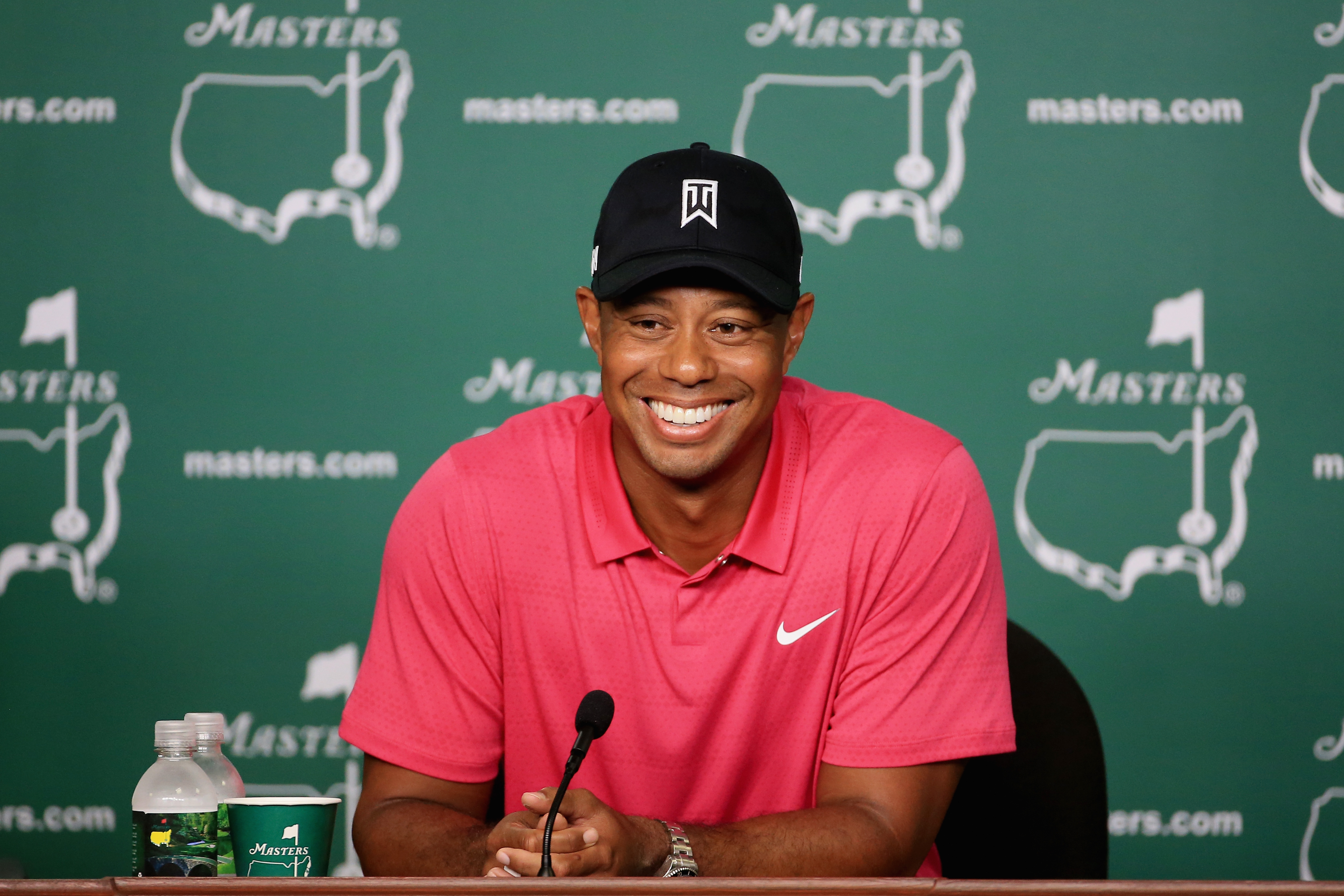 Woods presented a friendlier front at Augusta (Photo: Getty Images)