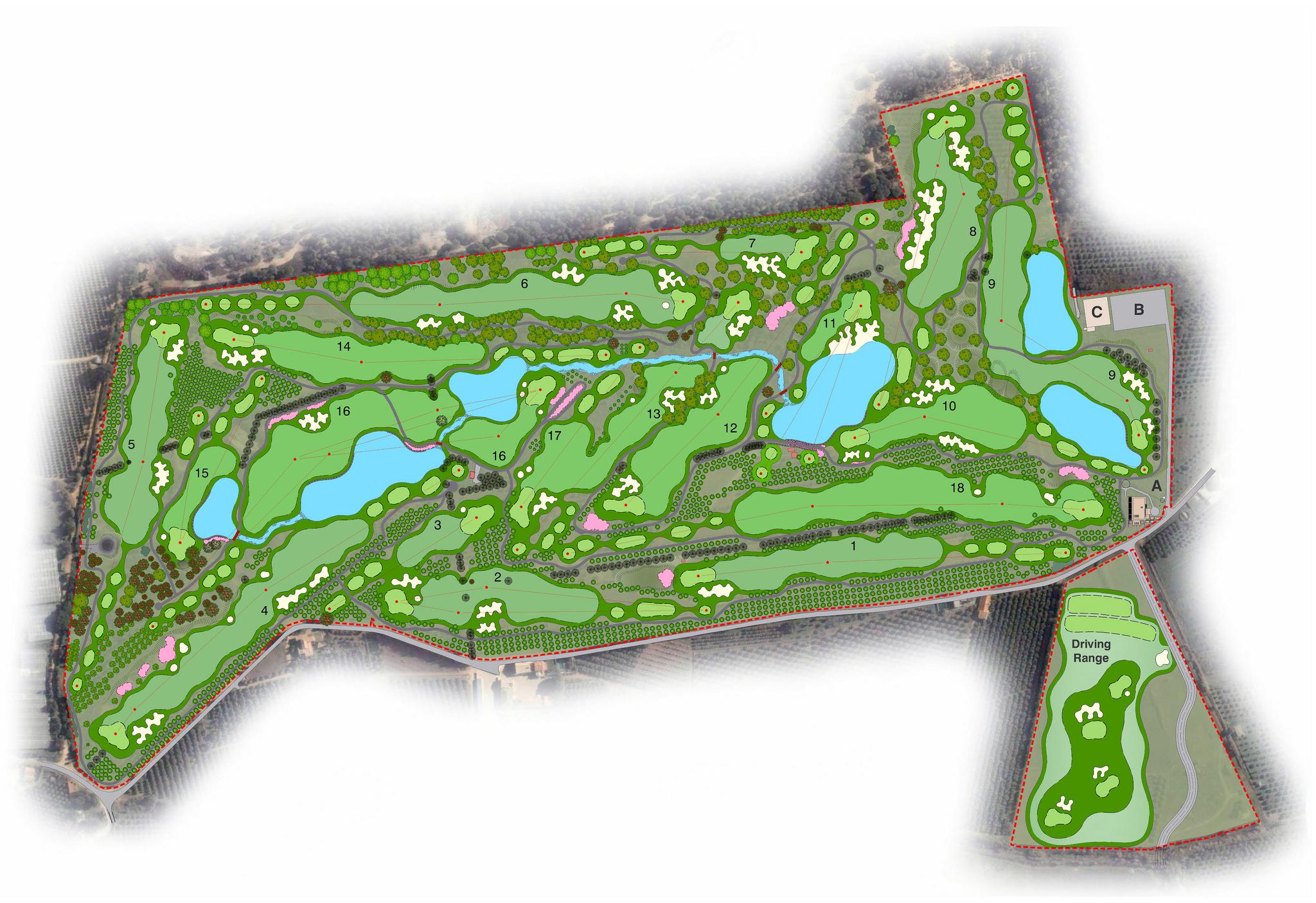 The course had five par fives, eight par fours and five par threes