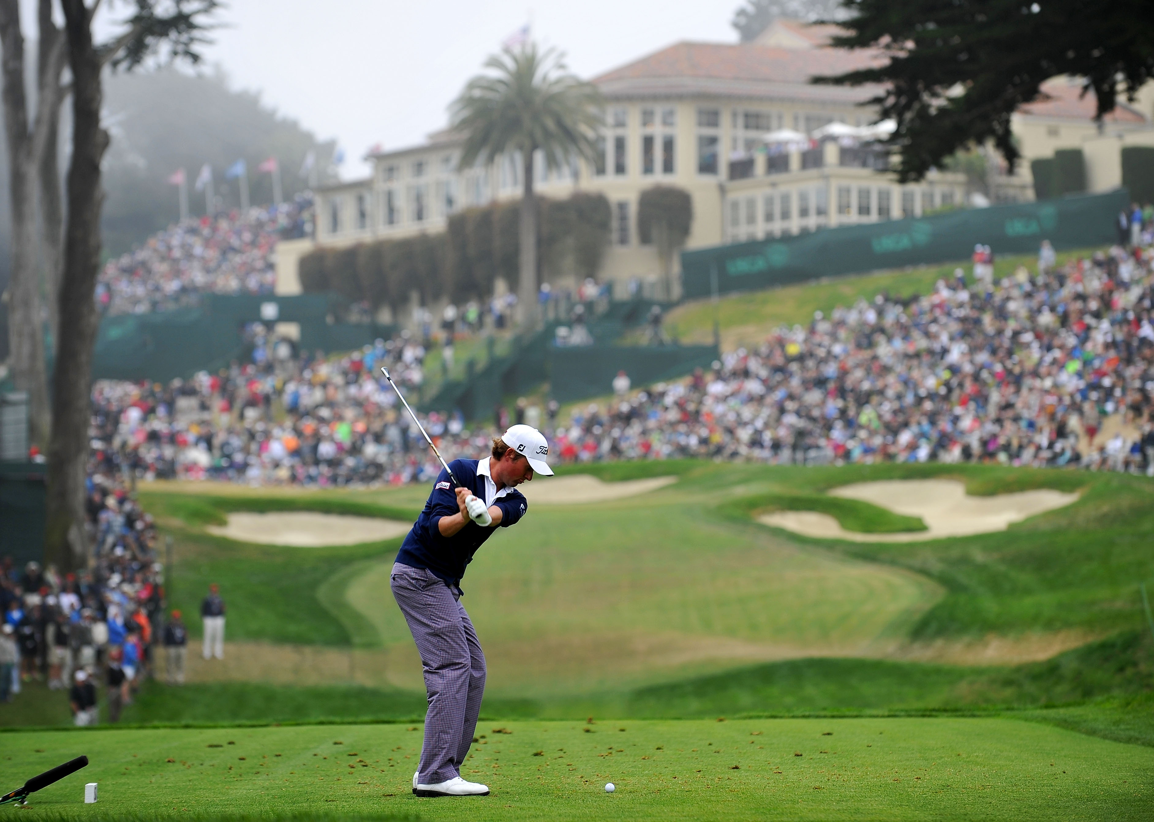 Webb Simpson takes his tee shot in the US Open at the Olympic Club, 2012 (Photo: Stuart Franklin/Getty Images)