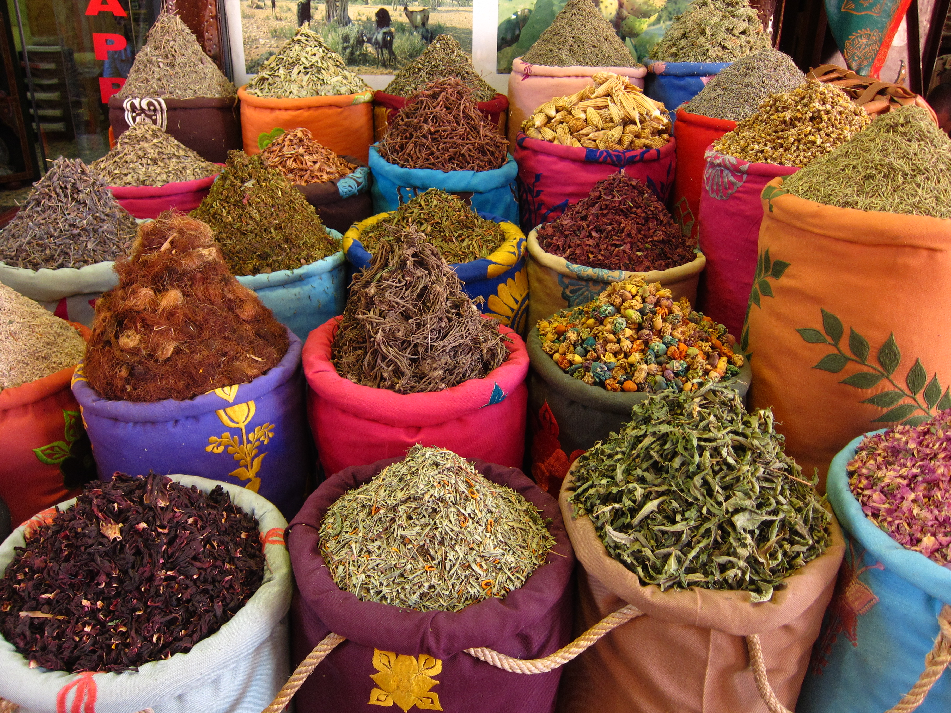 Wander the souks and you will find myriad herbs and spices for healing and cooking