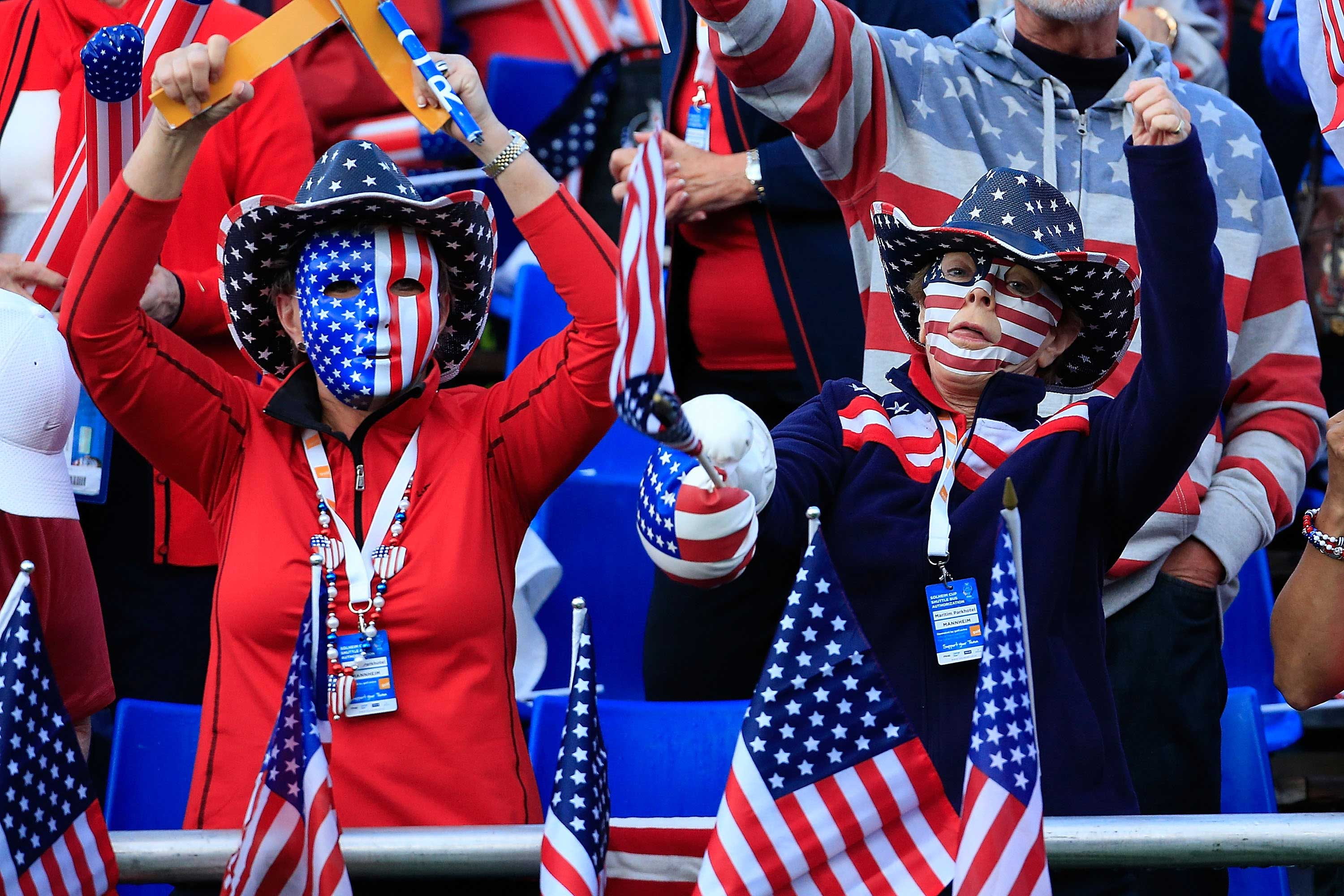 Two supporters went all out on day one at the Solheim Cup (Photo: Getty Images)