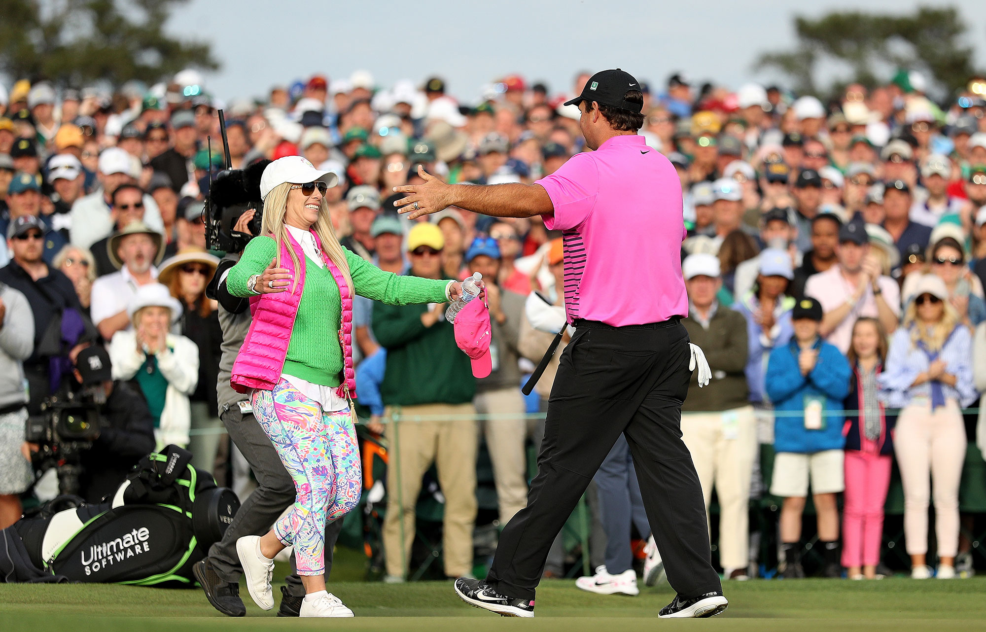 Justine Reed phones David Leadbetter to look at Patrick's golf swing!