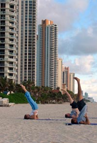Early morning exercise on Miami Beach