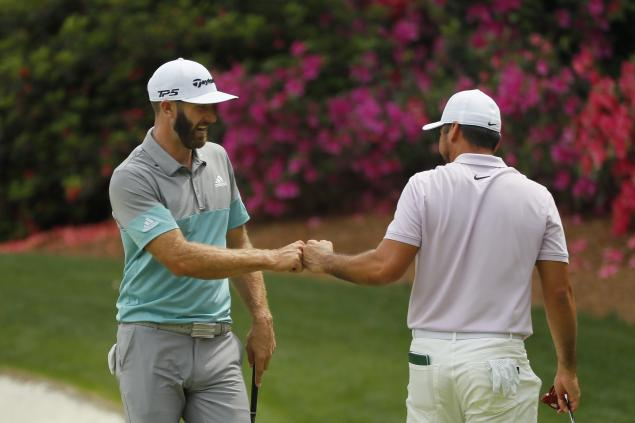 WATCH: Dustin Johnson finds water then chips in for birdie at Masters