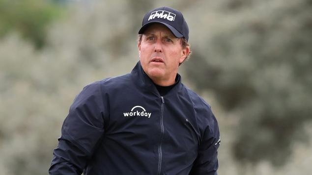 WATCH: Phil Mickelson's EPIC bunker shot that spins through rough...