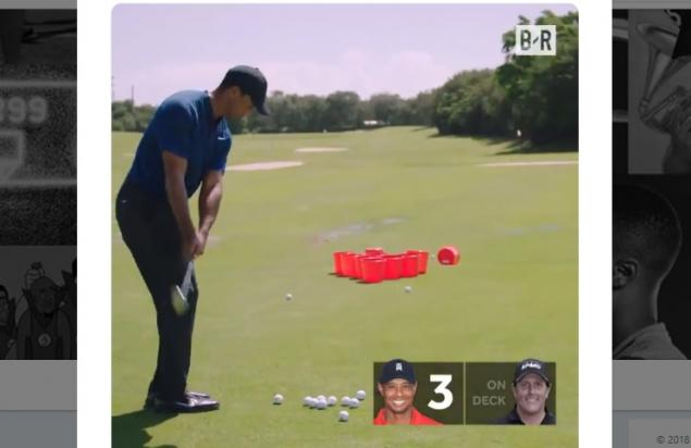 WATCH: Tiger Woods and Phil Mickelson copy GolfMagic and do Golf Pong!