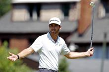 Matthew Wolff rides his luck at the 17th during American Express first round