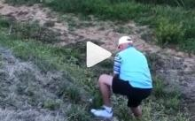 Golfer plays awesome recovery shot, then falls face down a cliff!