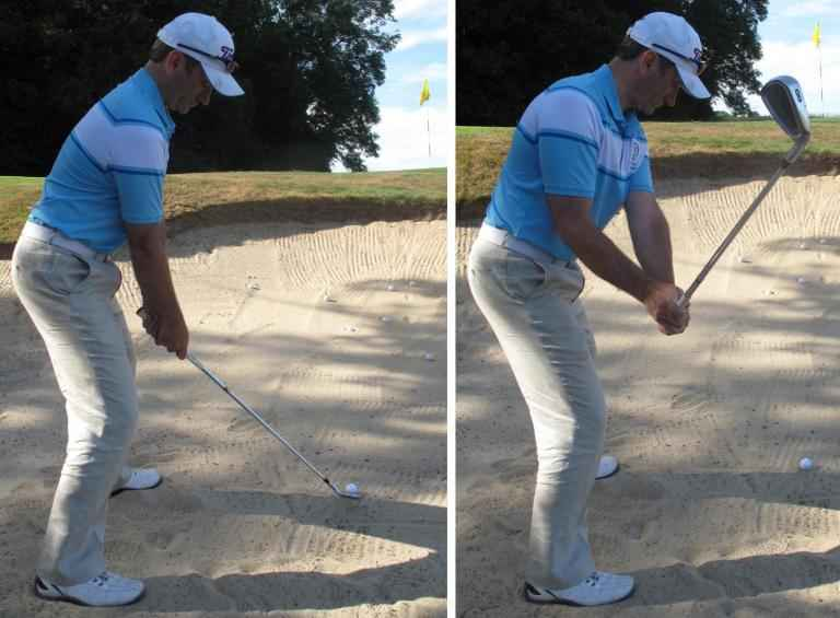 Struggling with greenside bunker shots? Practice with your 8-iron...